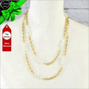 NEW Long Twisted Chain Faux Pearl Necklace